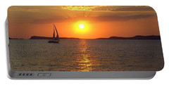 Sailing Boat In Ibiza Sunset Portable Battery Charger