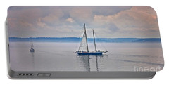 Portable Battery Charger featuring the photograph Sailing On A Misty Morning Art Prints by Valerie Garner