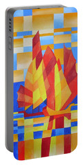 Portable Battery Charger featuring the painting Sailing On The Seven Seas So Blue by Tracey Harrington-Simpson