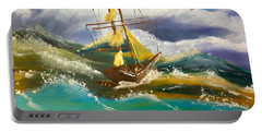 Sailing Ship In A Storm Portable Battery Charger by Pamela  Meredith