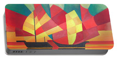 Portable Battery Charger featuring the painting Sails And Ocean Skies by Tracey Harrington-Simpson