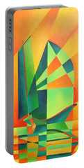 Portable Battery Charger featuring the painting Sails At Sunrise by Tracey Harrington-Simpson
