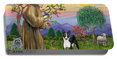 Saint Francis Blesses A Black And White Basenji Portable Battery Charger