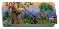 Saint Francis Blesses A Black Chinese Shar Pei Portable Battery Charger