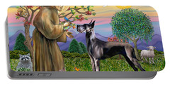 Saint Francis Blesses A Black Great Dane Portable Battery Charger