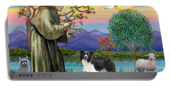 Saint Francis Blesses A Border Collie Portable Battery Charger