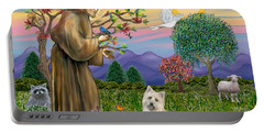 Saint Francis Blesses A Cairn Terrier Portable Battery Charger