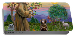 Saint Francis Blesses A Chocolate Labrador Retriever Portable Battery Charger