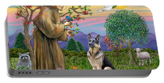 Saint Francis Blesses A German Shepherd Portable Battery Charger