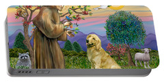 Saint Francis Blesses A Golden Retriever Portable Battery Charger