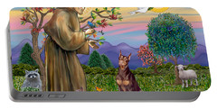 Saint Francis Blesses A Red Doberman Portable Battery Charger