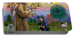 Saint Francis Blesses A Rottweiler Portable Battery Charger