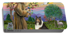 Saint Francis Blesses A Sable And White Collie Portable Battery Charger
