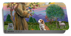 Saint Francis Blesses A Welsh Springer Spaniel Portable Battery Charger