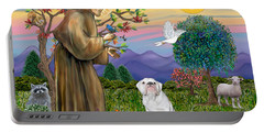 Saint Francis Blesses An English Bulldog Portable Battery Charger