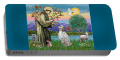 Saint Francis Blesses An English Setter Portable Battery Charger