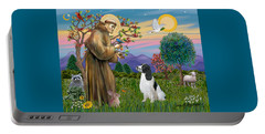 Saint Francis Blesses An English Springer Spaniel Portable Battery Charger