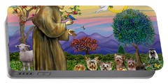 Saint Francis Blesses Seven Yorkies Portable Battery Charger