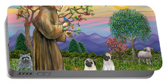 Saint Francis Blesses Two Fawn Pugs Portable Battery Charger