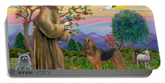 Saint Francis Blessing A Bloodhound Portable Battery Charger