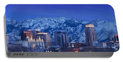Salt Lake City Skyline Portable Battery Charger by Brian Jannsen