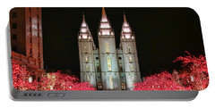 Portable Battery Charger featuring the photograph Salt Lake Temple - 1 by Ely Arsha