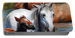 Salt River Foal Portable Battery Charger by Karen Kennedy Chatham