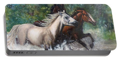 Salt River Horseplay Portable Battery Charger by Karen Kennedy Chatham