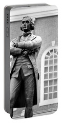 Samuel Adams Statue State House Boston Ma Black And White Portable Battery Charger