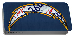 San Diego Chargers Football Team Retro Logo California License Plate Art Portable Battery Charger by Design Turnpike