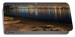 Portable Battery Charger featuring the photograph San Diego Harbor Lights by Gary Holmes