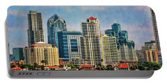 Portable Battery Charger featuring the photograph San Diego Skyline by Peggy Hughes