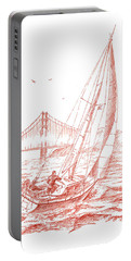 San Francisco Bay Sailing To Golden Gate Bridge Portable Battery Charger