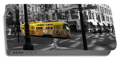 San Francisco Vintage Streetcar On Market Street - 5d19798 - Black And White And Yellow Portable Battery Charger
