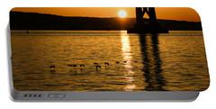 Portable Battery Charger featuring the photograph San Francisco Bay Bridge Sunrise by Georgia Mizuleva