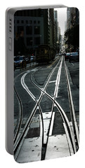 Portable Battery Charger featuring the photograph San Francisco Silver Cable Car Tracks by Georgia Mizuleva