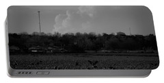Sand Hill Cranes With Nebraska Thunderstorm Portable Battery Charger