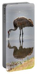 Sandhill Crane On Sparkling Pond Portable Battery Charger
