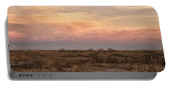 Sandhill Cranes At Sunset Portable Battery Charger