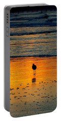 Sandpiper In Golden Dawn Surf Portable Battery Charger