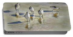 Sandpipers 2 Watercolor 5-13-12 Julianne Felton Portable Battery Charger by Julianne Felton