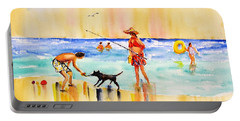 Sandy Dog At The Beach Portable Battery Charger by Carlin Blahnik