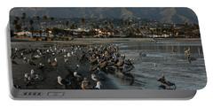 Portable Battery Charger featuring the photograph Santa Barbara Beach Crowd  by Georgia Mizuleva