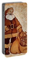 Portable Battery Charger featuring the painting Santa Claus Bag by Georgeta  Blanaru
