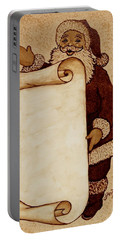 Portable Battery Charger featuring the painting Santa Claus Wishlist Original Coffee Painting by Georgeta  Blanaru