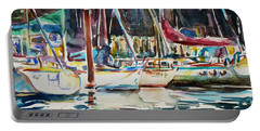 Portable Battery Charger featuring the painting Santa Cruz Dock by Xueling Zou