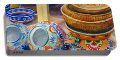 Portable Battery Charger featuring the painting Santa Fe Hold 'em Pots And Baskets by Karen Fleschler