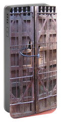 Portable Battery Charger featuring the photograph Santa Fe Old Door by Dora Sofia Caputo Photographic Art and Design