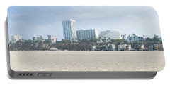 Santa Monica Beach With Buildings Portable Battery Charger by Panoramic Images