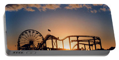 Santa Monica Pier Portable Battery Charger by Art Block Collections